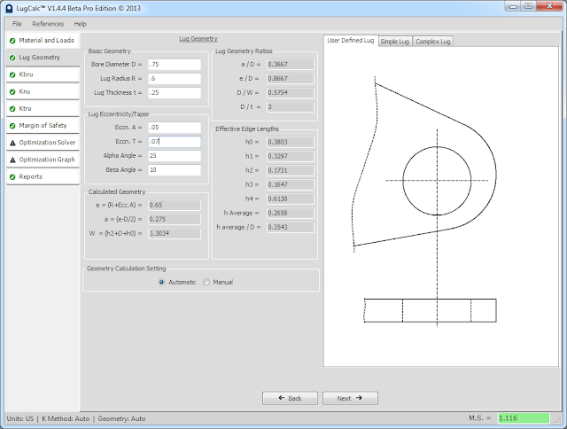LugCalc Geometry Figure - Real Time Geometry Representation